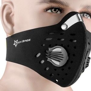 Outdoor facemask w/filter black neoprene washable